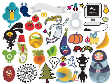 vector images: Mix of different vector images and icons. vol.22 Illustration