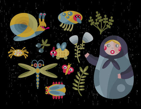 matriosca: Matreshka doll and insects icons set in vector.