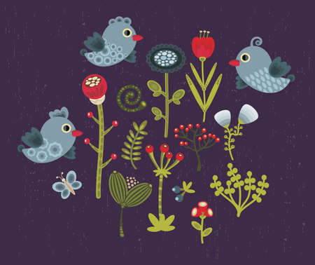 Birds and flowers. Vector illustration. Stock Vector - 11747964