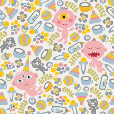 Baby monsters seamless background. Vector texture. Vector