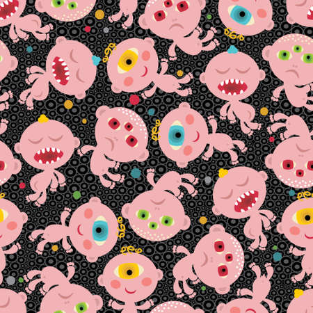 Baby monsters seamless background. Vector pattern. Vector