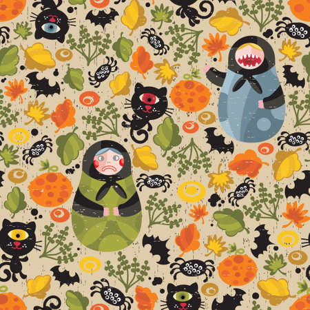 Seamless pattern with matreshka and black cats. Vector texture for Halloween. Vector