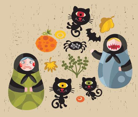 matrioska: Halloween icons with matreshka and cats. Illustration