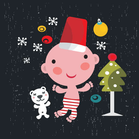 Christmas card with baby boy. vector illustration. Vector