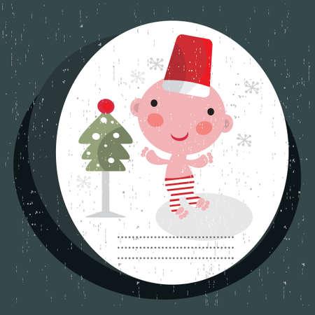 Christmas card with baby boy. Vector illustration. Vector