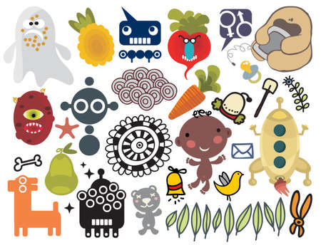 baby deer: Mix of different vector images and icons. vol.25