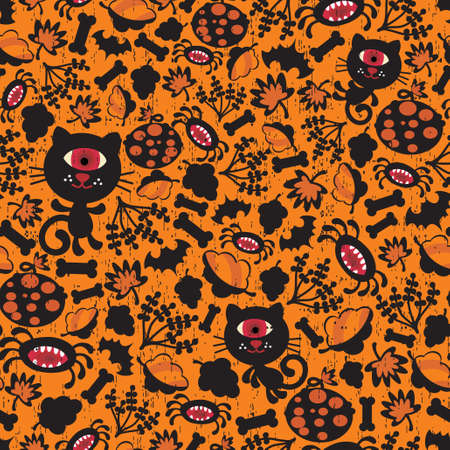 Seamless Halloween background with monsters. Vector texture for your holiday design. Vector