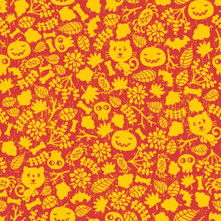 Seamless Halloween background with monsters in two colors. Stock Vector - 11749454