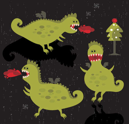 Dragons with fire and christmas tree. Vector icons. Stock Vector - 11747916
