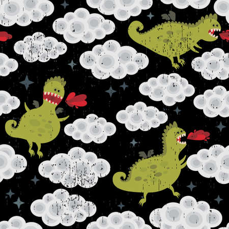 Dragon in the clouds seamless background. Vector pattern. Vector