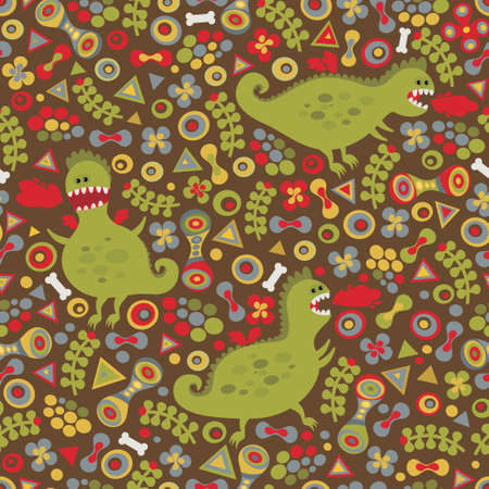 Cute dragons seamless background. Vector pattern. Vector