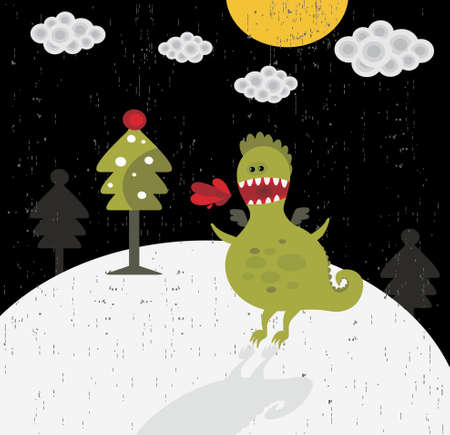 Funny dragon new year card. Background in vector. Stock Vector - 11747920