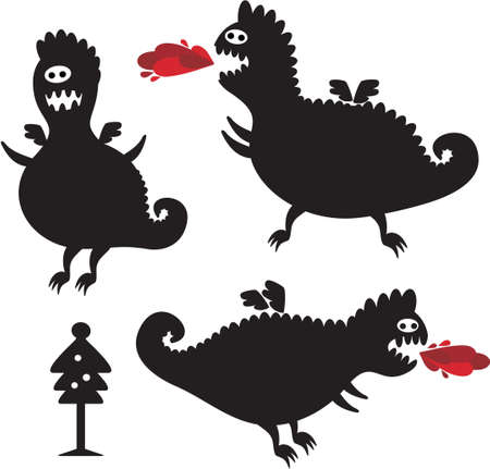 Funny dragons silhouette for New Year design. Vector icon set of monsters. Vector