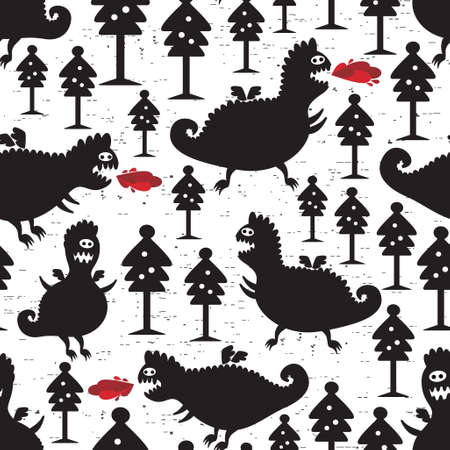 Dragons seamless background. Vector pattern with funny monsters. Vector