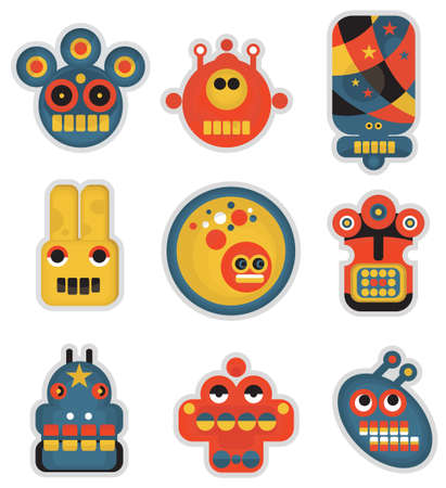 Cartoon robots and monsters faces in color. Vector illustration set #1. Vector