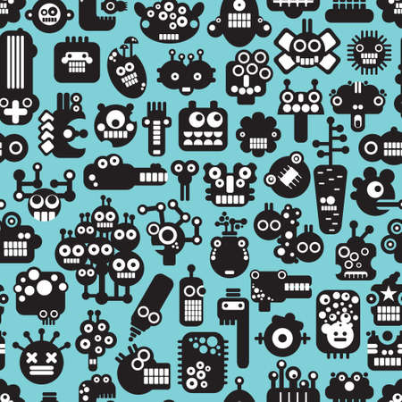 Cartoon robots faces seamless pattern on blue. Vector background.