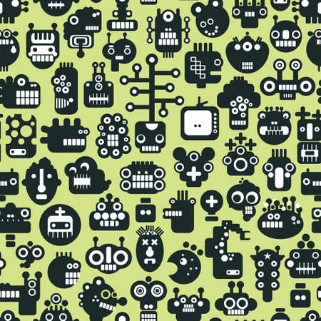 Cartoon robots faces seamless pattern on green. Vector background. Vector