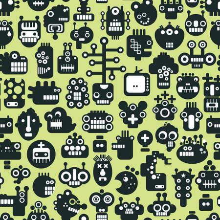 alien head: Cartoon robots faces seamless pattern on green. Vector background.