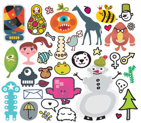 manga style: Mix of different vector images and icons. vol.30 Illustration