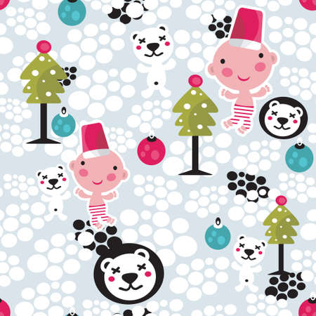 Christmas seamless background. Vector pattern for your holiday design. Vector