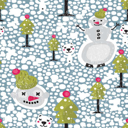 snowball: Christmas seamless pattern with snowman. Vector texture. Illustration