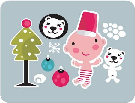 positivism: Icone Natale insieme. Illustrazione vettoriale.