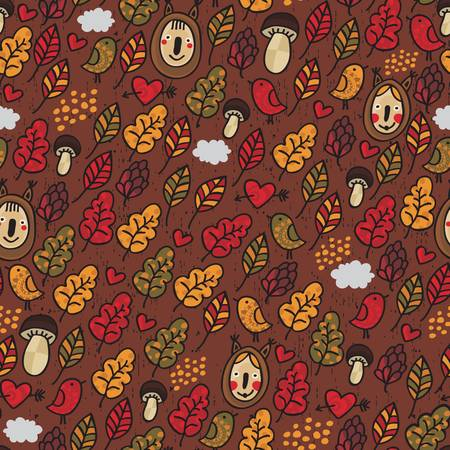Seamless pattern in autumn style. Vector doodle background. Vector