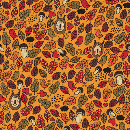 acorn squirrel: Seamless pattern with children of autumn. Vector doodle background.