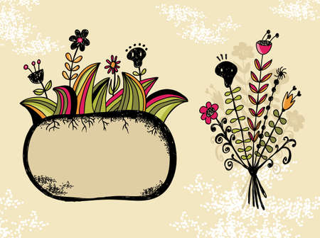 Cute banner and bouquet with flowers and skull. Vector design elements. Vector