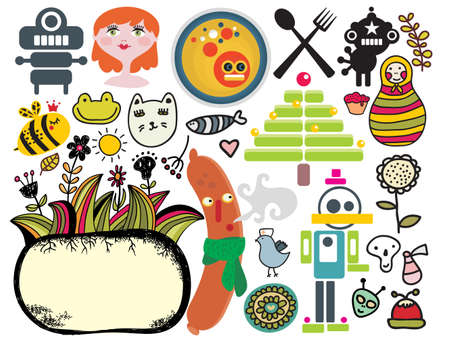 funny image: Mix of different vector images and icons. vol.33 Illustration