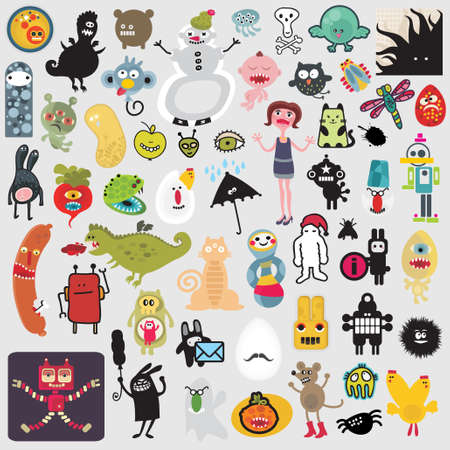 Big set of different cute monsters #2. Vector icons for your design. Vector