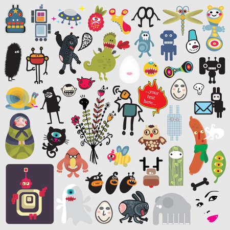 Big set of different cute monsters #3. Vector icons for your design. Vector