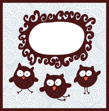 Cartoon banner and cute owls. Vector doodle illustration. Vector