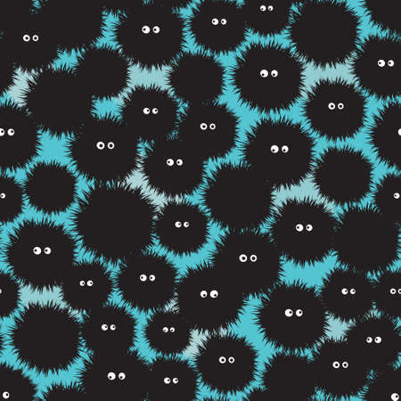 manga: Cute shaggy monsters seamless pattern. Vector texture.