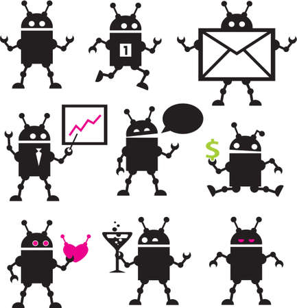 Cute robot icons black and white. Vector set. Stock Vector - 11749466