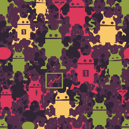 Cute robots seamless pattern. Nice vector texture for your background. Vector