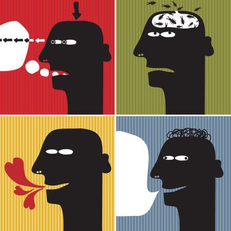 Black head man #1. Vector illustration. Vector