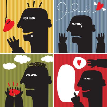 sad love: Black head man #3. Romantic set of vector illustrations.