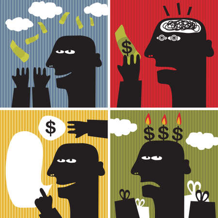 hypnosis: Black head man #4. Vector illustration about money. Illustration
