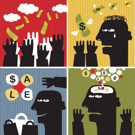 head down: Black head man #5. Vector illustration about money.