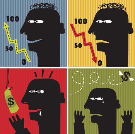 Black head man #2. Vector illustration about money. Vector