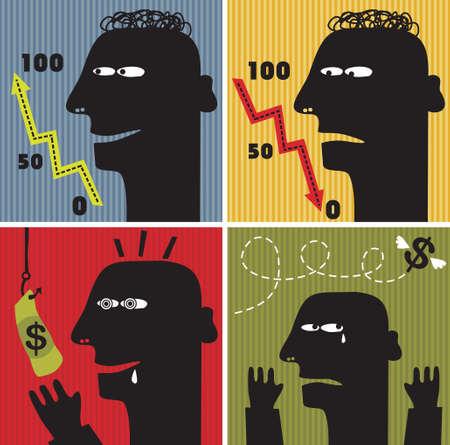 despondency: Black head man #2. Vector illustration about money.