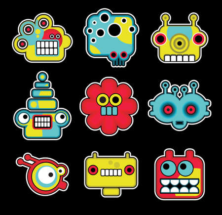 Cartoon robots and monsters faces in color. Vector illustration set #2. Vector