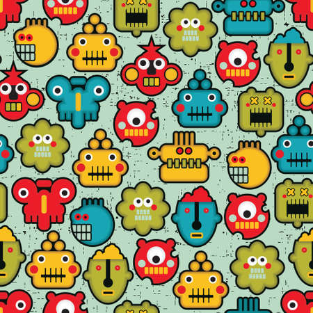 Robot and monsters cute faces seamless pattern. Vector texture. Vector