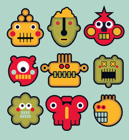 Cartoon robots and monsters faces in color. Vector illustration set #3. Vector
