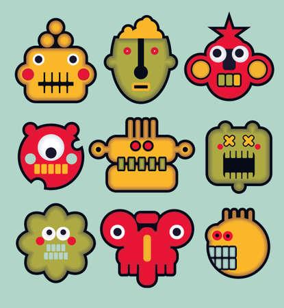 invaders: Robots y monstruos de dibujos animados caras en color. Ilustraci�n vectorial conjunto de # 3.