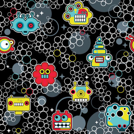Robot and monsters with bubbles seamless pattern. Vector texture. Stock Vector - 11730495