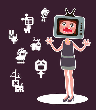 Cute monsters and shouting girl with TV head. Vector illustration. Vector