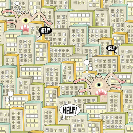 Seamless pattern with city and monsters. Vector illustration. Ilustração