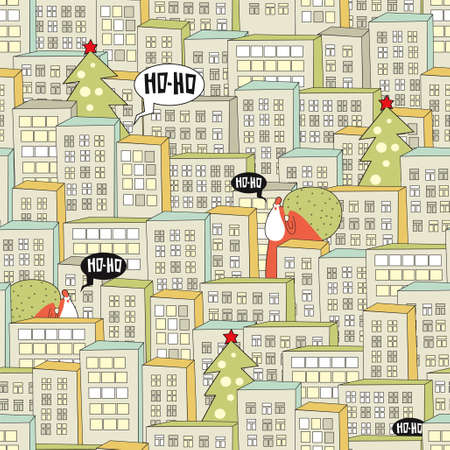 Christmas city seamless pattern. Vector illustration with Santa.